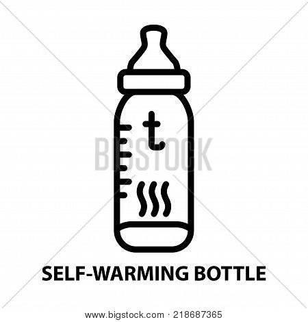 Line icon of self warming bottle on white background. Device for baby eating. Logo concept in linear style. Vector illustration.