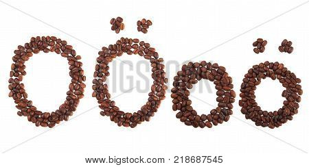 Letter O made of coffee beans isolated on white. Concepts: alphabet logo creative coffee hand made words symbols.