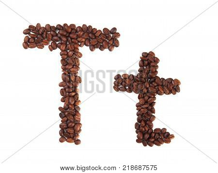 Letter T made of coffee beans isolated on white. Concepts: alphabet logo creative coffee hand made words symbols.
