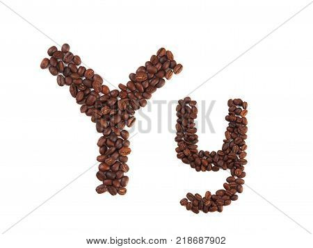 Letter Y made of coffee beans isolated on white. Concepts: alphabet logo creative coffee hand made words symbols.