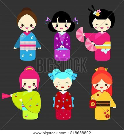 Cute kawaii kokeshi dolls. Traditional japanese dolls. Girls in kimono. Vector illustration