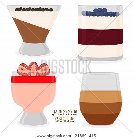 Vector icon illustration logo for jelly red strawberry blueberry coffee panna cotta. Jelly pattern consisting of design sweet food pudding pannacotta. Eat fresh fruit jellies Panna Cotta in puddings