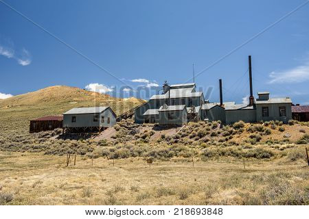Standard Consolidated Mining Company Stamp Mill in Bodie ghost town, California. Bodie is a historic state park from a gold rush era.