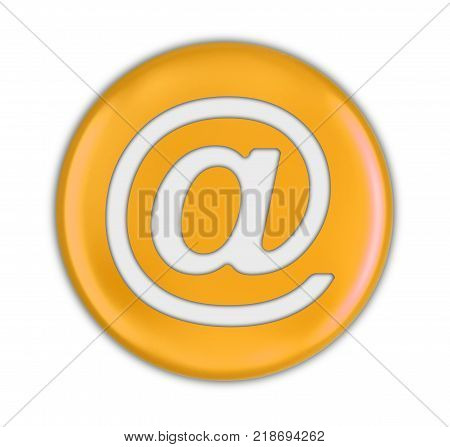 3d illustration. Button with E-mail sign. Image with clipping path