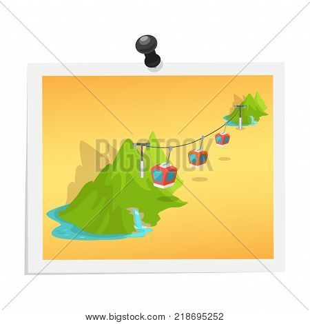 Mountain lifts on image isolated on white. Attached photograph with light frame by black drawing pin. Picture memories from travelling in green hills vector colorful illustration in flat design