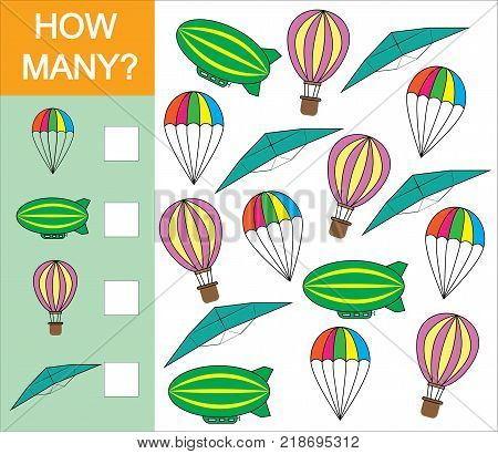 Counting game how many object of air transport for preschool children. Learning numbers mathematics. Vector illustration.