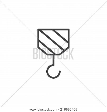 Crane construction line icon, outline vector sign, linear style pictogram isolated on white. Hook symbol, logo illustration. Editable stroke