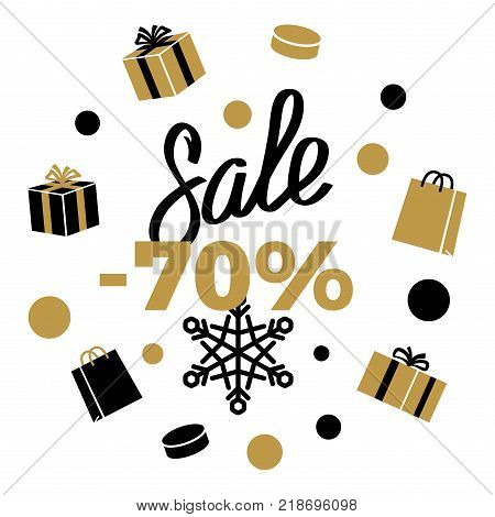 70 Sale Winter Discount sign on white background with black and gold present boxes, shopping bags, different shaped dots and snowflake. Isolated vector illustration of advertising sale poster.