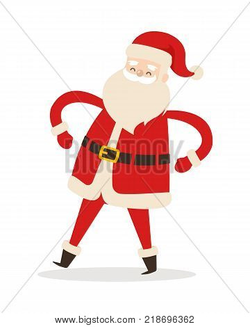 Santa Claus with arms akimbo isolated on white. Father Christmas decorative statue in cartoon design. Funny magic character in flat. Saint Nick vector illustration in winter holiday concept.