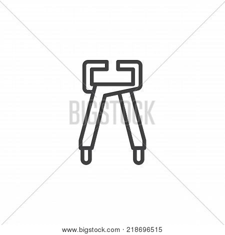 Tongs pliers, pincers line icon, outline vector sign, linear style pictogram isolated on white. Symbol, logo illustration. Editable stroke