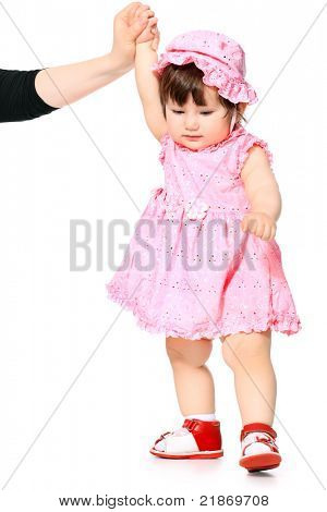 The happy girl in a pink dress, isolated on a white background poster