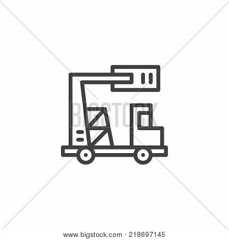 Truck with telescopic crane line icon, outline vector sign, linear style pictogram isolated on white. Lifting machine symbol, logo illustration. Editable stroke