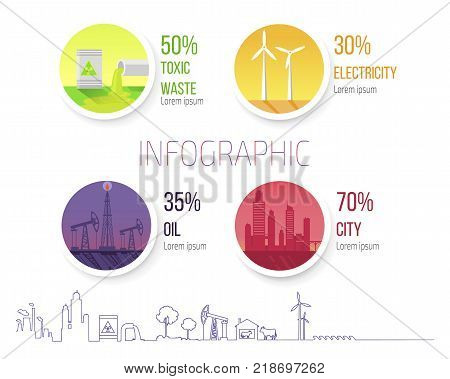 Infographic poster dealing with problems of toxic wastes, renewable sources of energy as windmills, oil production and city smog vector