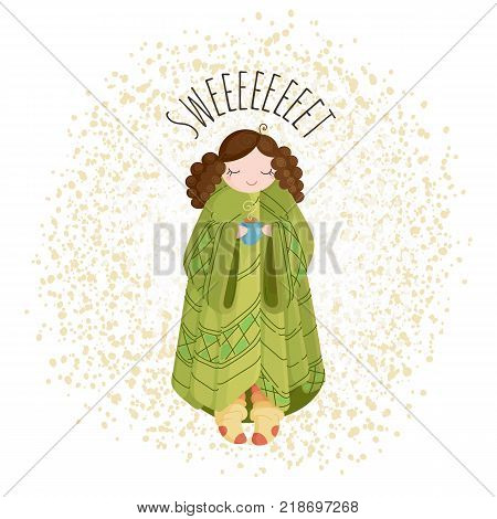 Doodle illustration of a cute girl with a cup and plaid and wrapped in a blanket. Postcard or book image.