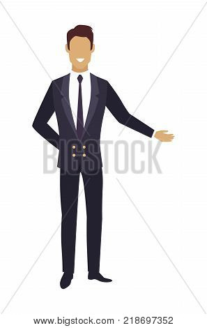 Man in expensive suit pointing on something by hand. Waiter in restaurant or door boy portier in hotel vector illustration of facelece male character
