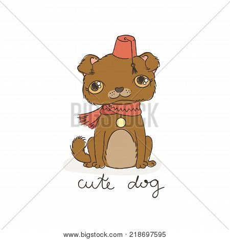 Puppy pug in a fez with a tassel. Vector doodle illustration. For color books or print.