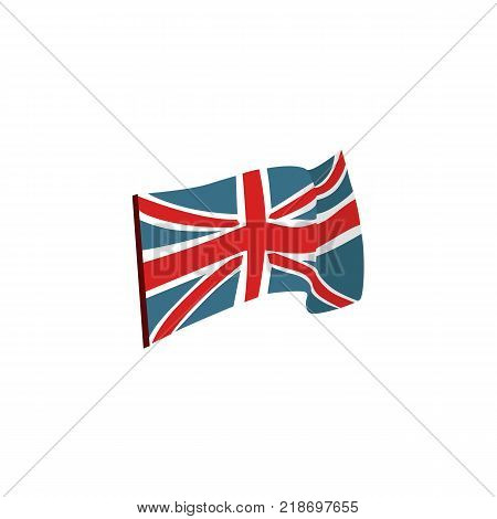 Waving Union Jack, national flag of the United Kingdom, flat vector illustration isolated on white background. Flat style Union Jack, British flag, national symbol of United Kingdom