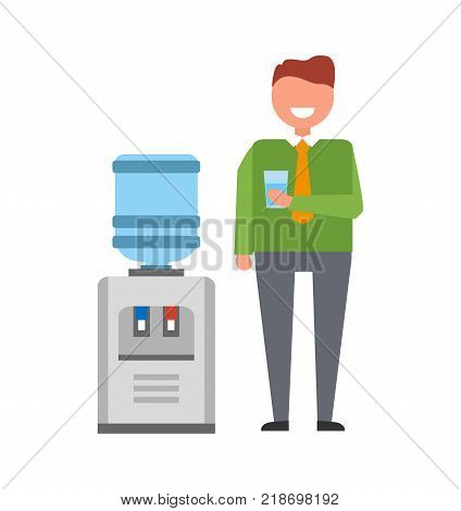 Smiling man with glass of water standing near watercooler. Vector illustration of office worker in bright colors isolated on white background