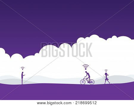 Internet addiction lifestyle vector illustration concept with people and wifi symbols over their heads. Eps10 vector illustration.
