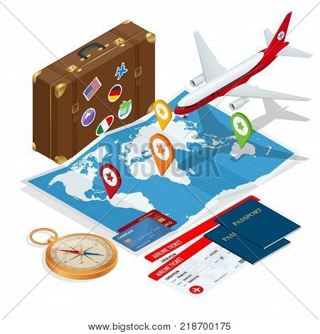 Airplane passport flight travel traveller fly travelling citizenship air concept. Travel and tourism background. Flat isometric vector illustration