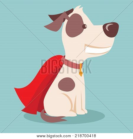 Vector illustration of cute and funny cartoon super puppy with red cloak