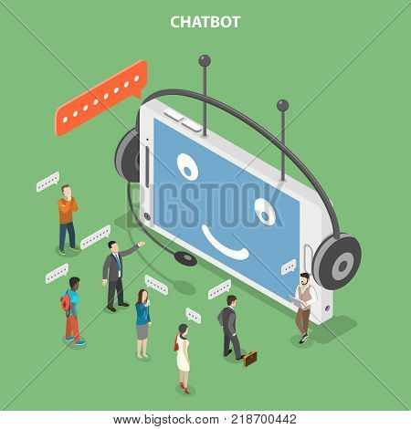 Chatbot flat isometric vector concept. Smartphone that looks like a robot head with headset is chatting with customers that are standing in front of it.