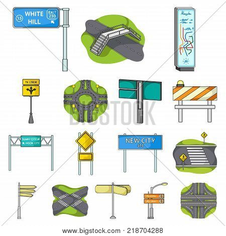 Road junctions and signs cartoon icons in set collection for design.Pedestrian crossings and signs vector symbol stock illustration.