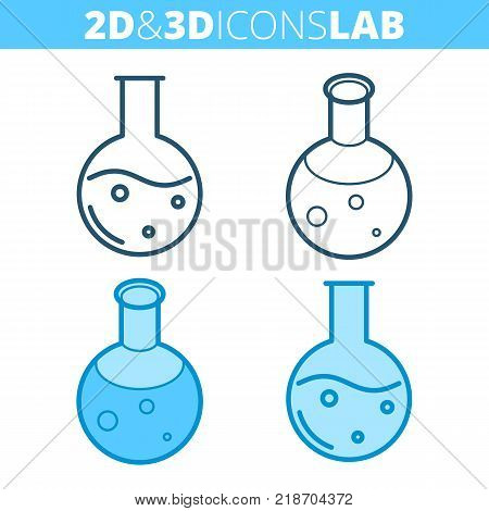 The round-bottomed flask. Flat and isometric 3d outline icon set. The medical, science laboratory equipment line pictogram. Vector linear infographic element for web design, social media, presentation