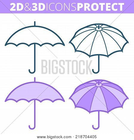 The umbrella. Flat and isometric 3d outline icon set. The security and protection concept line pictogram collection. Vector linear infographic elements for web design, social media, presentations.