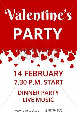 Valentines Day Party invitation card with hearts border