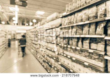 Blurred Soda, Bottled Tea, Juices In Retail Store