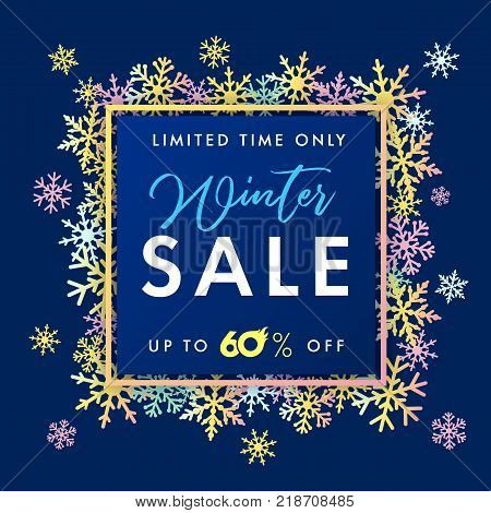 Elegant winter sale banner colored snow. Winter sale lettering design with blue snowflakes in frame  and text limited time only sale up to 60% on navy blue background. Vector illustration