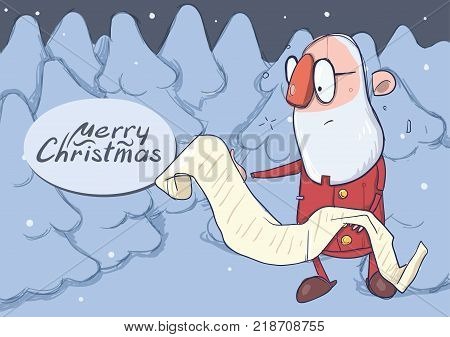 Christmas card of funny hatless Santa Claus in glasses reading a long scroll in snowy winter forest. Vector character illustration.