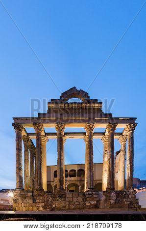 Roman temple of Diana Merida Extremadura Spain