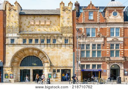 London UK - June 21 2017 - Facade of Whitechapel gallery and Aldgate East Station in East London