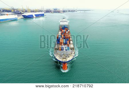 Container Ship Being Shipping Out Of Stock Port By Sea .