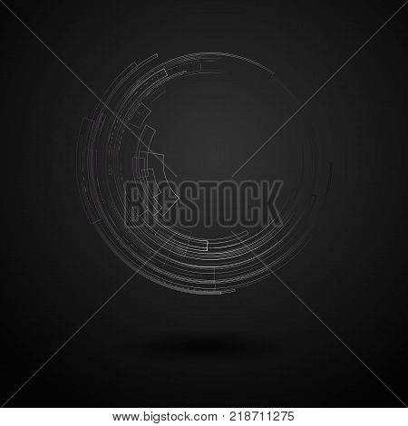 Abstract Geometric Background With Concentric Circle Bright Circle On Dark Background Graphic Geomet