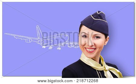 Beautiful cheerful stewardess on the background of a board with a drawn airplane