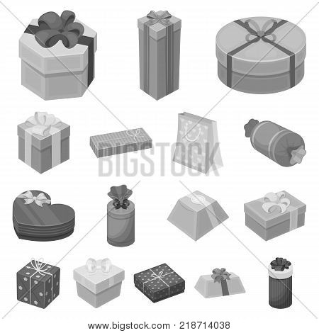 Gift and packing monochrome icons in set collection for design.Colorful packing vector symbol stock  illustration.