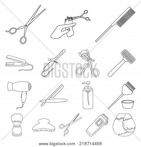 Hairdresser and tools outline icons in set collection for design.Profession hairdresser vector symbol stock  illustration.