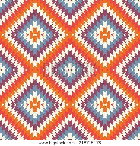 Ethnic Style Seamless Pattern With Chevron Lines. Native Americans Ornament. Tribal Motif. Colorful