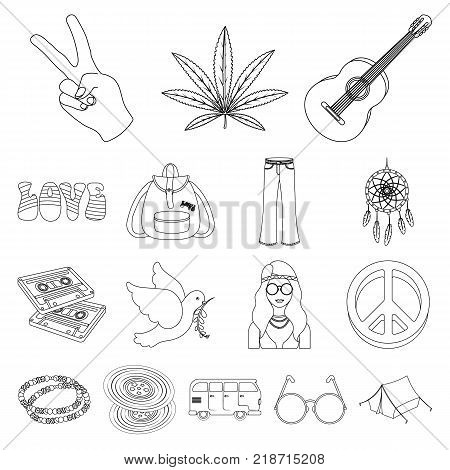 Happy and attribute outline icons in set collection for design. Happy and accessories vector symbol stock  illustration.