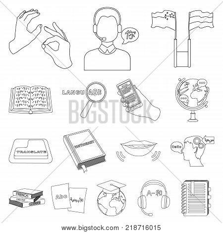 Translator and linguist outline icons in set collection for design. Interpreter vector symbol stock  illustration.
