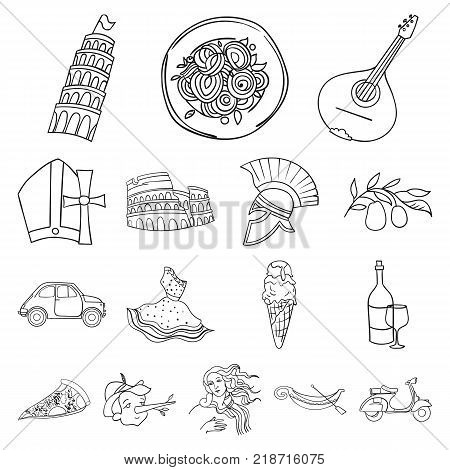 Country Italy outline icons in set collection for design. Italy and landmark vector symbol stock  illustration.
