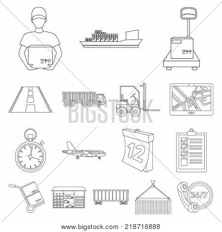 Logistics service outline icons in set collection for design. Logistics and equipment vector symbol stock  illustration.