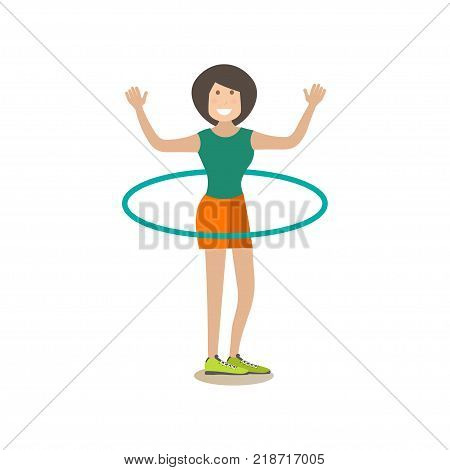 Vector illustration of beautiful slim woman doing hula hoop exercises. Training outside people concept flat style design element, icon isolated on white background.