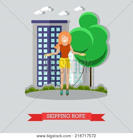 Vector illustration of girl training with jump rope in the park. Skipping rope flat style design element.