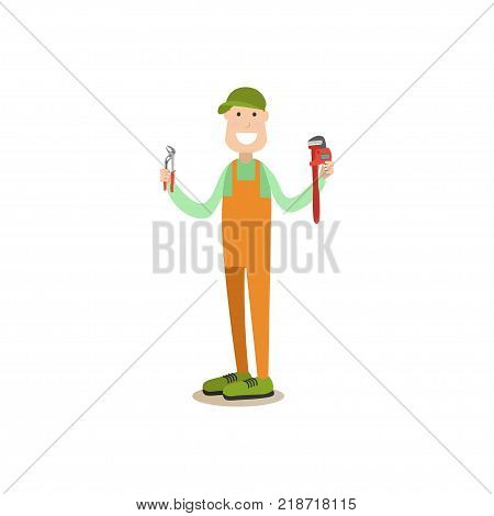 Vector illustration of pipe fitter standing with arms raised and holding plumbers pliers and pipe wrench. Professional worker flat style design element, icon isolated on white background.