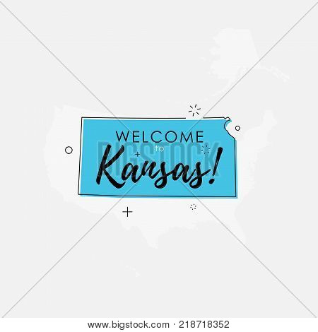 Vector illustration of greeting sign with welcome to Kansas text and state silhouette.