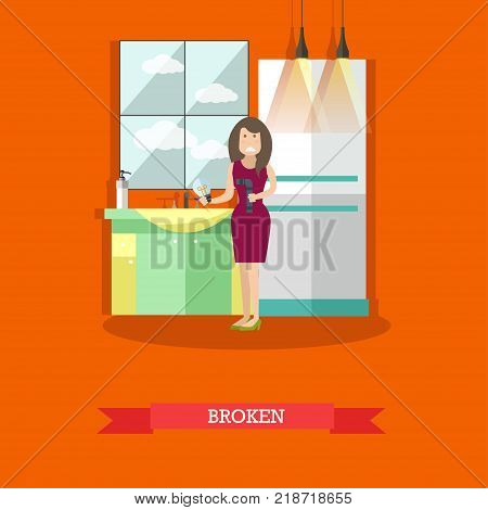 Vector illustration of woman holding broken pipe in one hand and burning out light bulb in another hand. Broken pipe repair concept flat style design element.